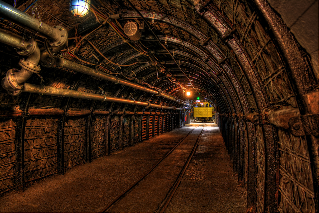 Fake tunnel in the museum of mining in the german city of Bochum.