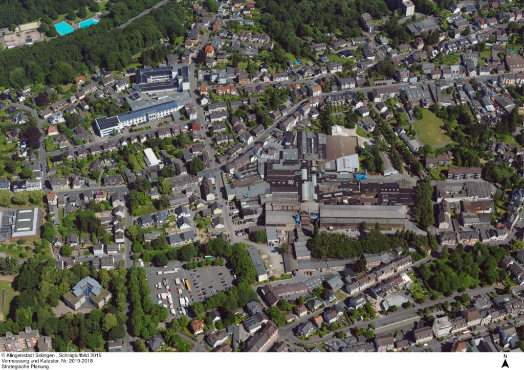 Bird view of the zone in Solingen which will get an urban renoval.
