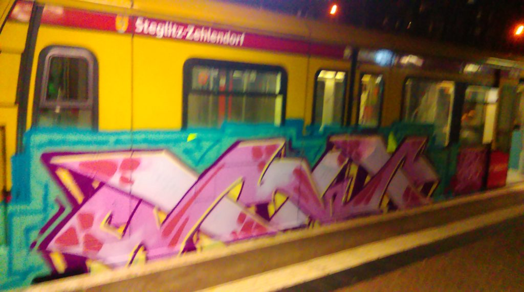 "XX-Graffiti on the Berlin train system ""Ring-Bahn""."