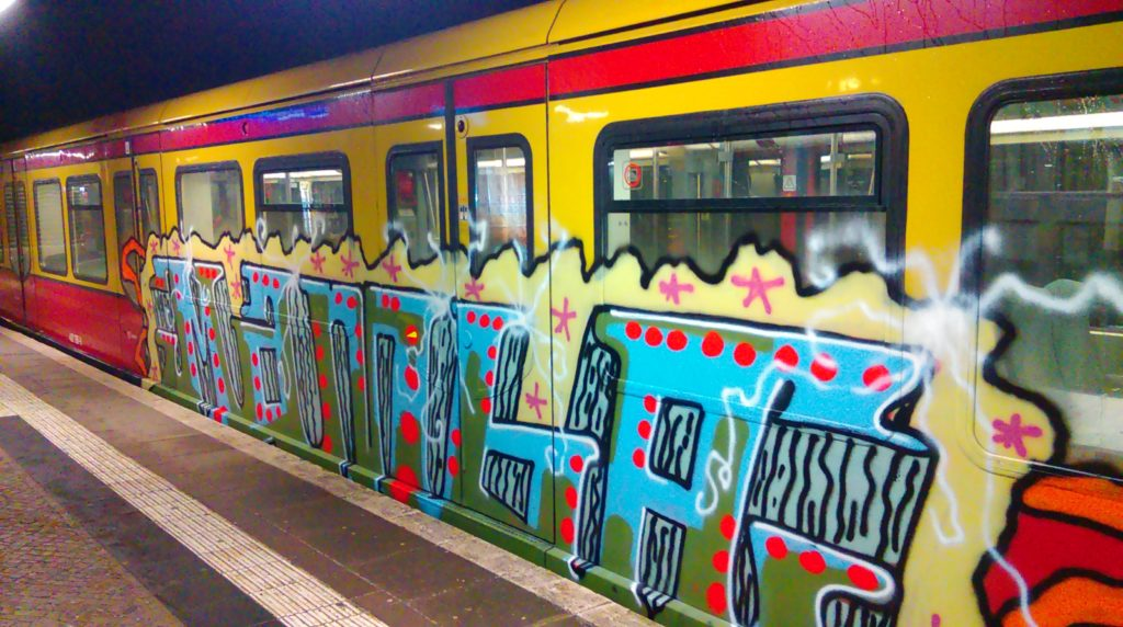"MAMBA-Graffiti on the Berlin train system ""Ring-Bahn""."