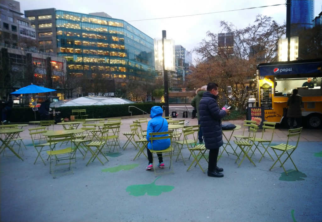 Lightweight furniture in the public space can create a food area