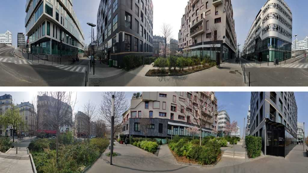 two pictures, paris, 17th district, Saussure, modern buildings, new urbanism, 360 degree view