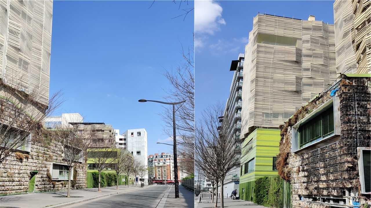 Diversité architecturale Clichy-Batignolles écoquartier Paris France Urbanisme, façades végétalisées rue urbain, arbres
